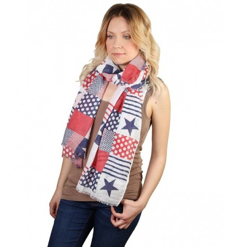 Funky Junque's Patriotic Red- White and Blue Patchwork Polka Dot Stripe Scarf - CU12F76H0PL