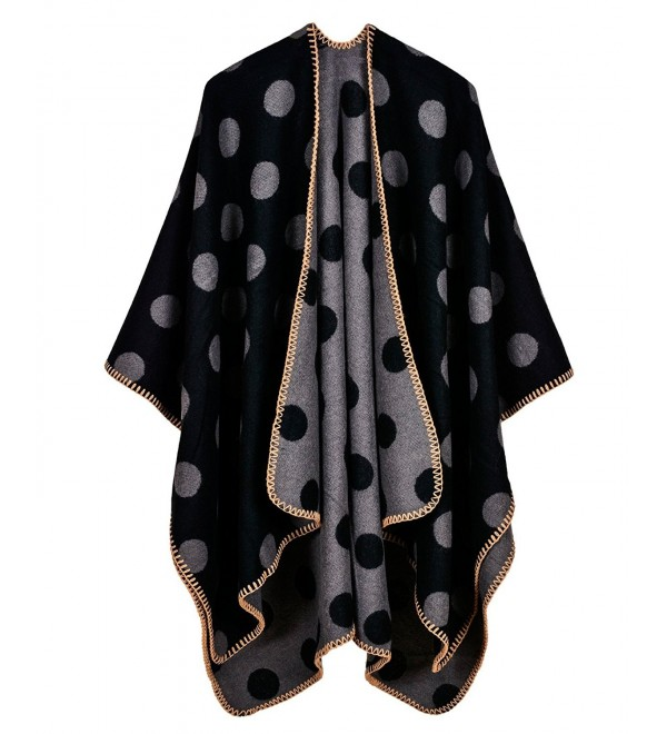 LOHASCASA Women's Pashmina Shawl Wrap Bohemia Cardigans - Black and Grey - C0184XRUU2E