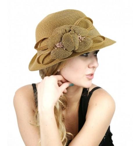 NYFASHION101 Side Flip Cloche Bucket Hat w/Woven Flower & Ribbon Accent- Natural - CP11W8272C9