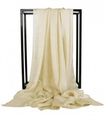 Faskelin Long Lightweight Sheer Shawls and Wraps Fashion Soft Large Scarfs for Women - Light Gold - C617AA6ZU9E