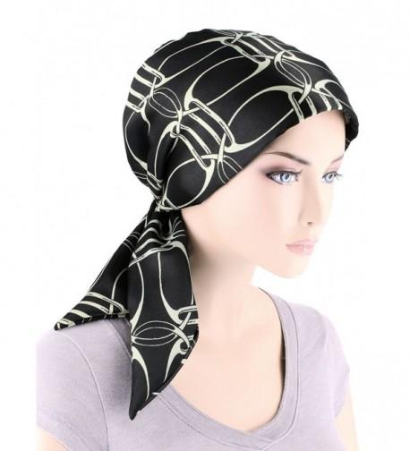 Chemo Fashion Turban Headwear Cancer - 05- Black Ivory Chain (Polyester) - C41859320KZ