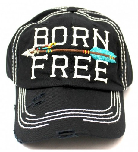 "BLACK ""BORN FREE"" Women's Distressed Baseball Cap w/ Adjustable Arrow Detailed Back - CT182ZN0EIT"