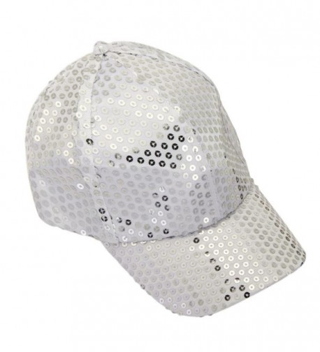 Hatop Sequin Adjustable Super Cool Sport Outdoor Cloth Baseball Cap (White) - CE12DAFPMUZ