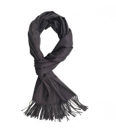 """Saferin Men Women Winter Plaid Soft Elegant Cashmere Feel Wrap Scarf - """"Solid Dark Grey-wrap Size 78""""""""x25"""""""""""" - CY186M6A7RO"""