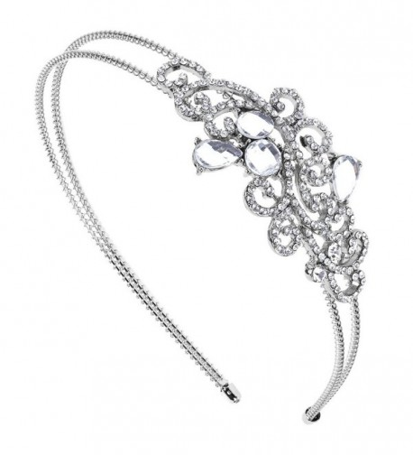 Lux Accessories Elegant Crystal Pave Bridal Bride Wedding Bridesmaid Tear Drop Stretch Headband Head Band - C11274IAJ11