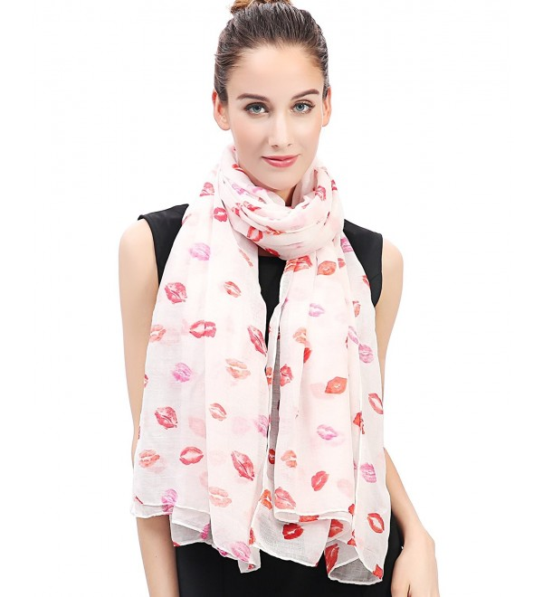 Lina & Lily Sexy Red Lips Print Women's Scarf Shawl Lightweight - White+red - CC11VK5ZRY5