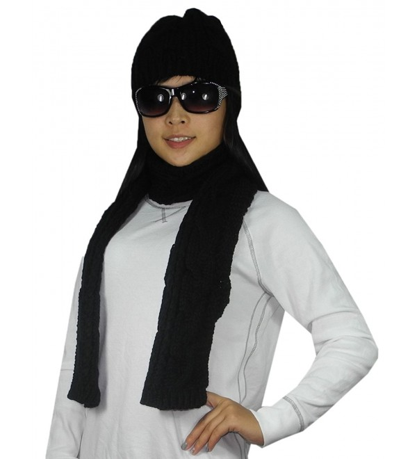 2 PCS SET Womens Hand Made Super Soft Knitted Thermal Winter Scarf & Hat - Black - CE128TCEXCD