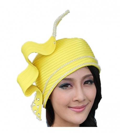 June's Young Fashion Church Hat for Women Satin Hat Bucket Cloche Hat 2 Bright Colors - Yellow - CA11I00UG4J