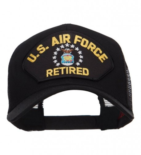 E4hats US Air Force Retired Military Patched Mesh Cap - Black - C0124YMGB1X