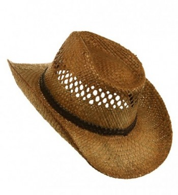 Vented Tea Stained Raffia Hat Regular