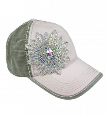 Olive & Pique Women's Two-Tone Baseball Cap - Light Pink/Moss/Silver Ab - CY17Y0AIUO7