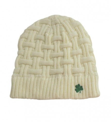 Man Of Aran Acrylic Basket Weave Beanie Hat Natural Colour With Green Shamrock - CB12FW7LQZZ