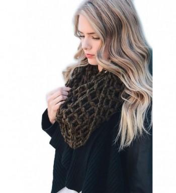 Women's Winter Fall Net Knit Infinity Scarf Cowl Wrap Scarves YS-3684 - Dark Olive - CK188G5U8QG