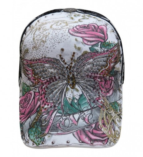 Multi Colored Rhinestone Butterfly/Floral Design Trucker Cap Novelty Hat - White/Black - CV11VOY5PLH