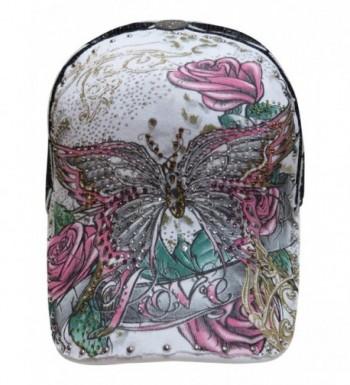 Multi Colored Rhinestone Butterfly/Floral Design Trucker Cap Novelty Hat - White/Black - CV11VOY5PLH