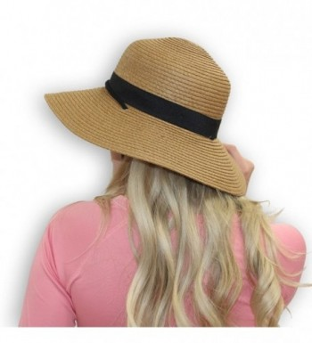 Amber Tan With Black X-Large Women's Packable Outdoor Sun Hat With Adjustable Chin Strap (X-Large) - CG182AS32DZ