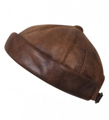ililily Faux Leather Solid Color Short Beanie Strap Back Winter Hat Casual Cap - Light Brown - CH188OZKTH0