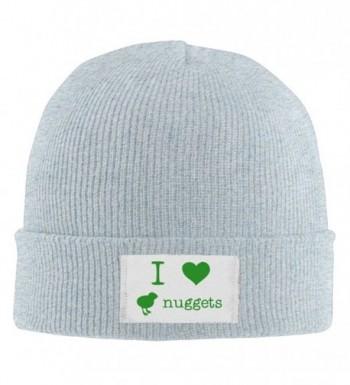 I Love Chicken Nuggets Men's Stretch Fleece Skull Beanie Hat Printed Cherished Knit Fleece Hat - Ash - C512N1S2YAT