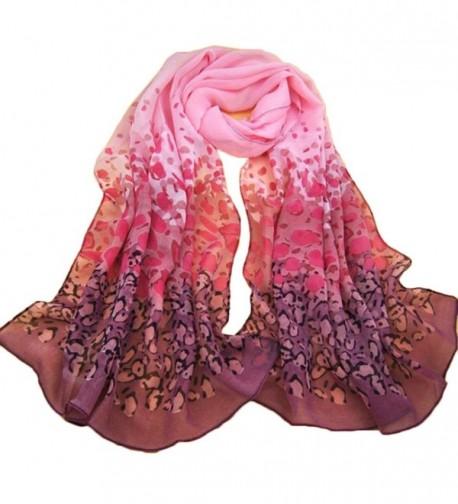 Franterd Women Gradual Change Color Long Chiffon Wraps Shawl Scarves - Pink - CV12BX2USX9