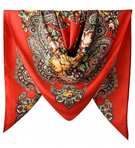 100% Silk Vintage Elegant 40 Inches Female Twill Square Scarf - Cg Red Totem Flowers Pattern - CW188XS7E9G
