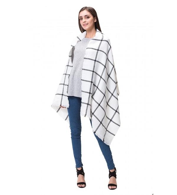 Lemef Women Stylish Warm Tartan Blanket Scarf Large Gorgeous Plaid Wrap Shawl - White - CY189L4GA2L