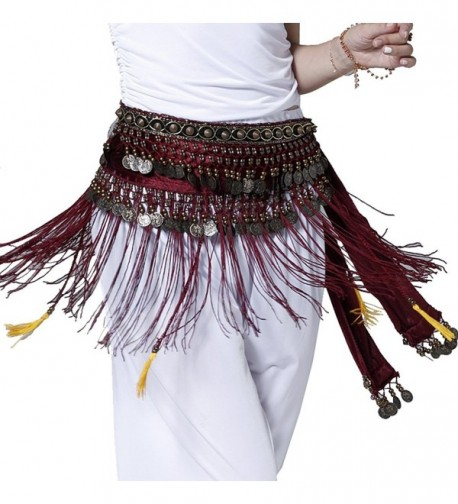 Pilot-trade Belly Dance Tribe Style Belt Tassel Hip Scarfs Velvet Waist - Rose Red - CS11TXPU4IX