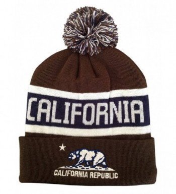 Great Cities Apparel California Republic Embroidered Knitted Long Cuffed Pom Beanie - Brown - C8129KSLLUH