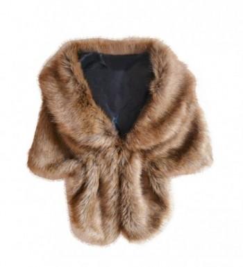 RNTOP Fashion Elegant Bridal Wedding Faux Fur Long Shawl Stole Wrap Shrug Scarf - Coffee - C81863G6IWI