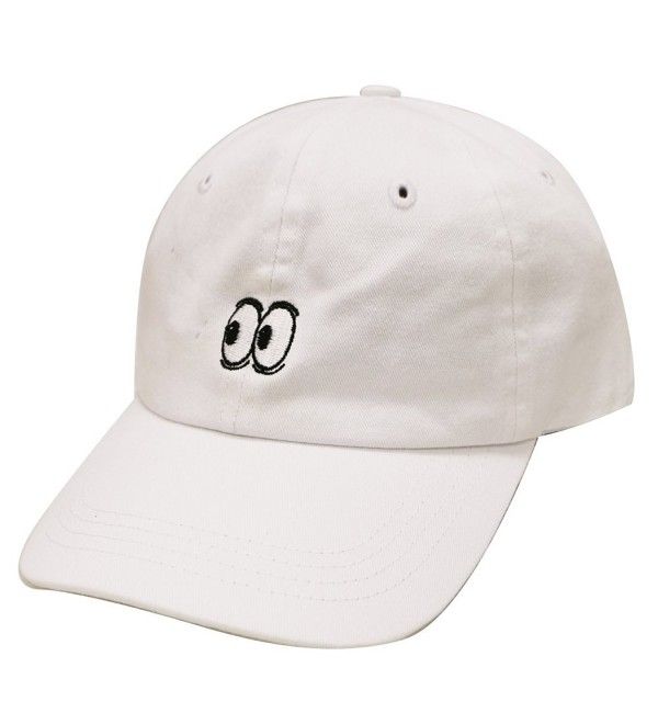 City Hunter C104 Eyes Small Embroidery Cotton Baseball Cap 11 Colors - White - CR12HVFX8K7