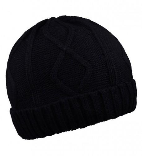 Warm Beanies Wool Fleece Lined Winter Knit Hats Thick Skull Caps for Men Women - Black - CY1870WRISW