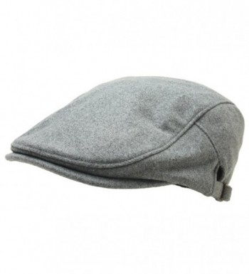 Men Woolen newsboy Flat Cap Basic Design Warm Gatsby IVY Driver Hat Cabbie Golf - Gray - CD187G7ME2O