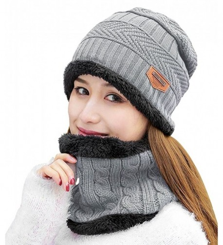 HindaWi Womens Beanie Winter Hat Scarf Set Slouchy Warm Snow Knit Skull Cap - Light Grey - CE188EH3GWX