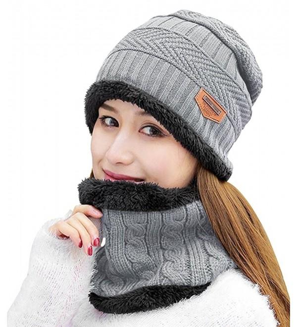 HindaWi Womens Beanie Winter Hat Scarf Set Slouchy Warm Snow Knit Skull Cap - Light Grey - CE188EH3GWX