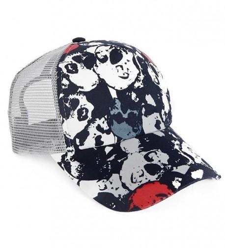 FORBUSITE Men Women Nylon Mesh Trucker Hat with Skull A112 - Navy&gray - CT12DMKXO6D