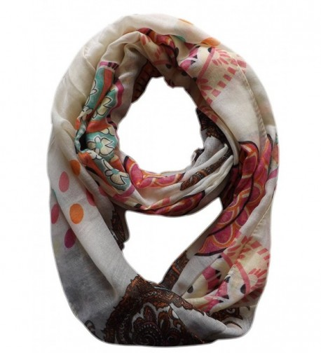 Peach Couture Vivid & Lively Lightweight Paisley Damask Infinity Loop Scarf - Cream - C111JAHHZML
