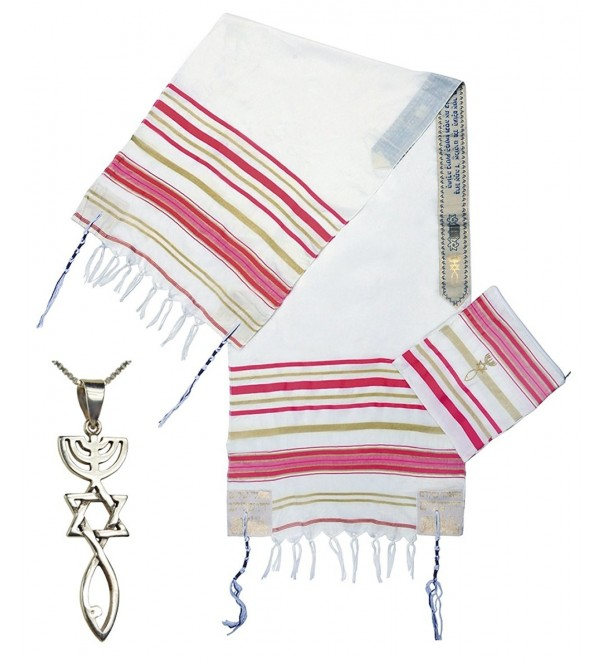 Women's Grafted In Prayer Shawl - Messianic Tallit with 'Grafted In' Messianic Pendant Necklace - CD183TT0CID