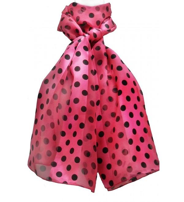 Imagine If... Silk Feel Women Scarf - Polka Dots - Polka Dots - Black on Hot Pink - CF12H3JGXDF