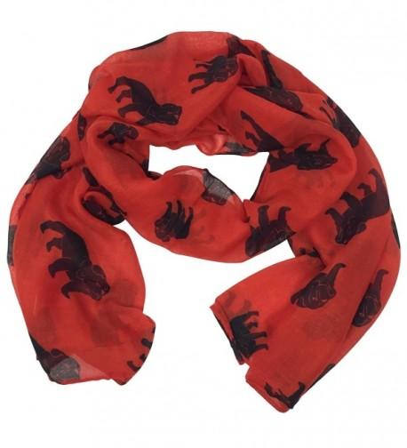 Bulldog Multi Color Lightweight Polyester Long Straight Scarf - Red & Black - CQ1869HGU76