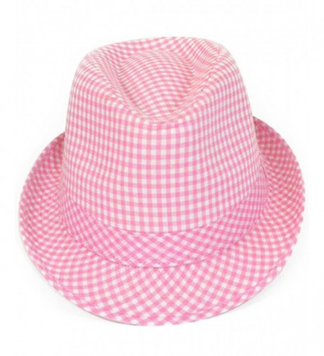 Checkered Cool Cat Fedora Hat - Pink - CP11MMJTFFP