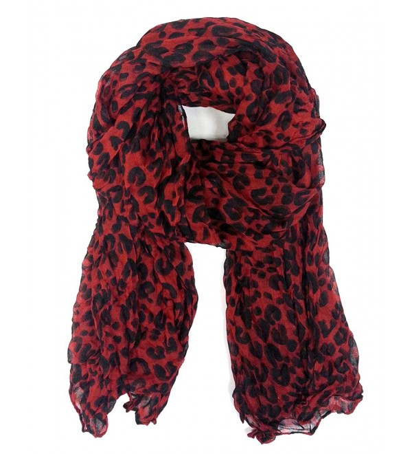 Wrinckled Leopard Scarf - RED - C9126OHIEV1