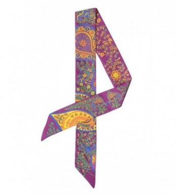 COMVIP Silk Bag Handle Ribbon Thin Neck Scarf Hair Band - Purple - C31868GHAN9