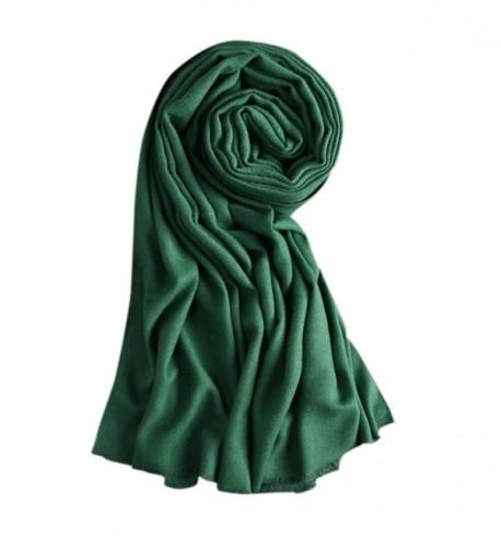 Drasawee Women Long Cotton Thick Warm Shawl Scarf For Winter - Green - CW12OBDJ8UF