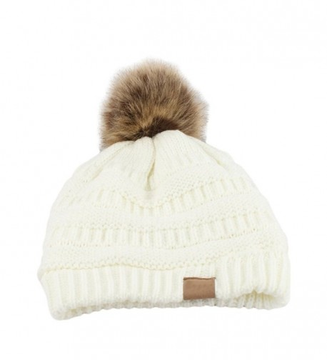 Academyus Fashion Women Faux Fur Pom Pom Beanie Cap Winter Outdoor Warm Woolen Yard Hat - White - CJ187LYZ6U9