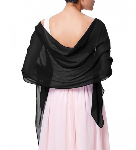 Kate Kasin Soft Chiffon Scarve Shawls Wraps and Pashmina for Evening Party KK229 - Black - CO12O6N0U2G