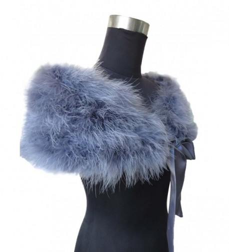 Real Ostrich Feather Cape With Silk ribbon Scarf Party protect your shoulders - Gray - C0183NG8M3Y