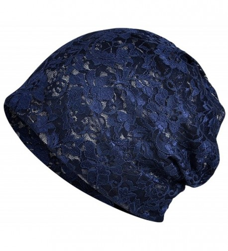 Qunson Women's Lace Slouchy Beanie Chemo Hat Cap for Cancer Patients - B-navy - CS18698I038