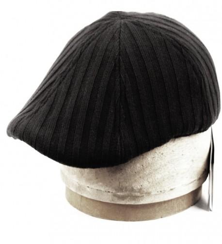 Men's Winter Warm Knit Quilted Lining Duck Bill Newsboy Ivy Cap - Black - CC12OBIMTAJ