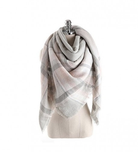 Women's Cozy Tartan Scarf Wrap Shawl Neck Stole Warm Plaid Checked Pashmina - Gray Pink - CL186L90OLT