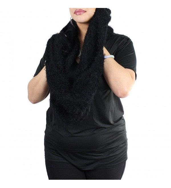 Very Soft Knitted Faux Fur Infinity Scarf - Faux Fur- Black - CL125VM1PST