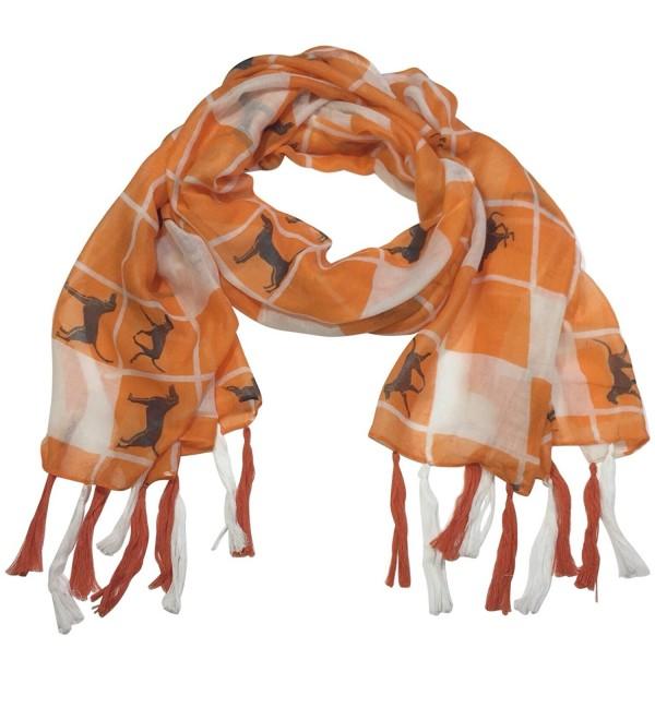 Orange and White Squares Coon hound Dog Fringe Tassel Lightweight Scarf - CM12O17ZLSG